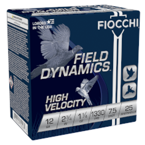 "Fiocchi 12GA High Velocity 2 3/4""1 1/4oz 1330fps #7.5  25RD Per Box"