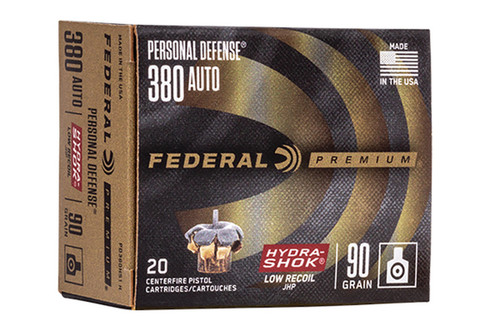 Federal Premium Personal Defense 380Auto Hydra Shok JHP  90GR 20RD Per Box