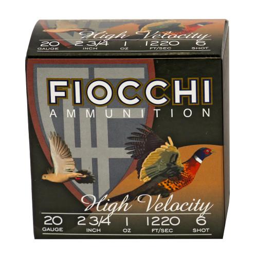 "Fiocchi High Velocity 20GA 2 3/4"" 1 oz 1220fps #6 25RD Per Box"
