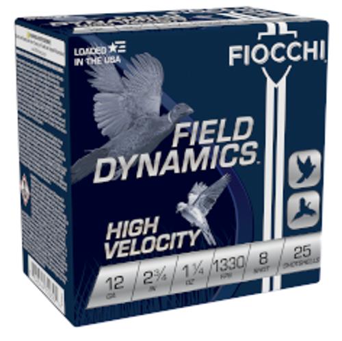 Fiocchi High Velocity 12GA 2 3/4 1 1/4oz 1330FPS #8 25RD Per Box