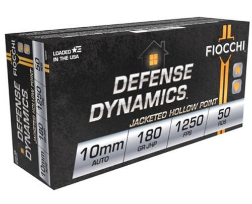 Fiocchi 10mm Auto Jacked Hollow Point 180GR 1250fps 50RD Per Box