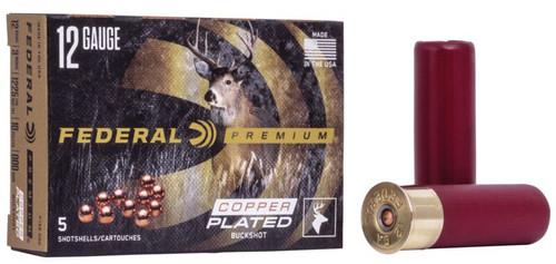 """Federal Premium 12GA 3"""" 1225FPS, 10 Pellets 000 Buck 5 RD Per Box"""