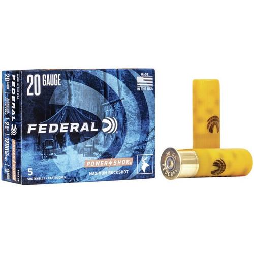 Federal Power Shok 20GA 2 3/4 20 Pellets 1200FPS, #3 Buck 5 RD Per Box