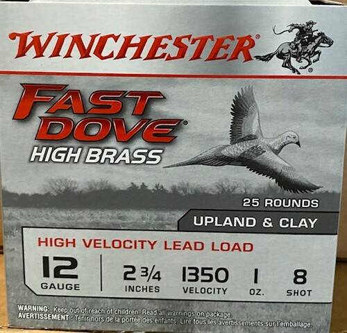 Winchester Fast Dove High Brass 12GA 2 3/4, 1350FPS, 1oz, #8 25 RD Per Box