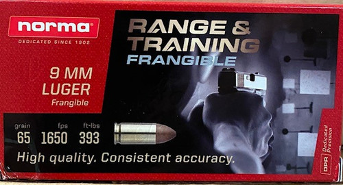 Norma 9MM Range & Training Frangible 65GR 1650FPS 50RD Per Box