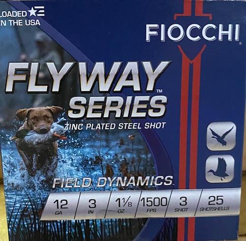 "Fiocchi Fly Way 12GA Steel 3"" 1 1/8oz 1500FPS #3 25RD Per Box"