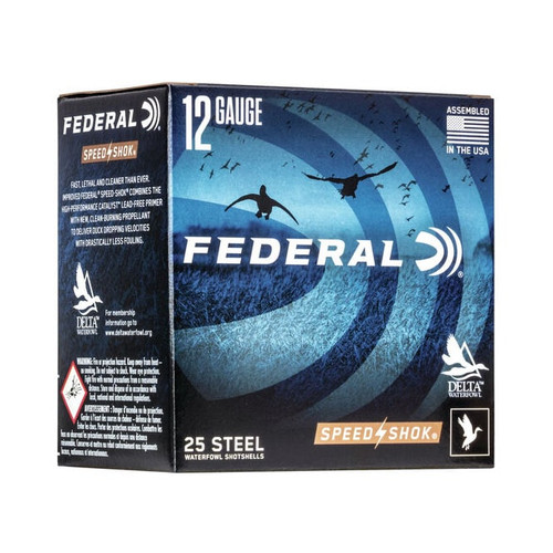 "Federal Steel Speed Shok 12GA 3"" 1450FPS 1 1/4oz #2 25RD Per Box"