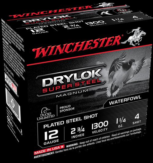 "Winchester Drylock Super Steel 12GA 2 3/4"" 1300FPS 1 1/4oz #4 25 RD Per Box"