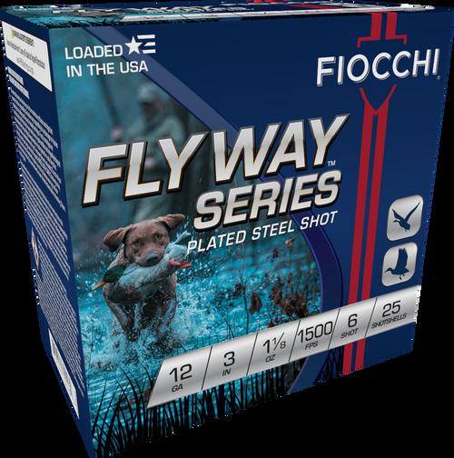 "Fiocchi Flyway Steel 12GA 3"" 1 1/8oz 1500FPS #6 25RD Per Box"