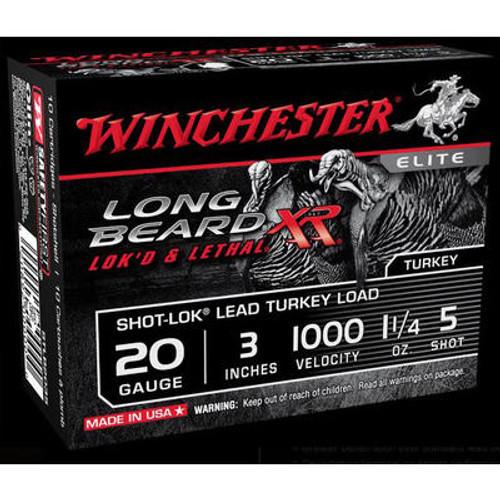 "Winchester Long Beard XR 20GA Shot-Lok Turkey Load 3"", 1000FPS 1 1/4oz #5 10RD Per Box"