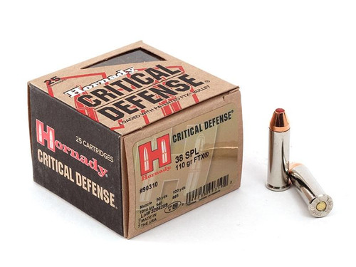 Hornady Critical Defense 38 Special 110GR, FTX 25RD Per Box