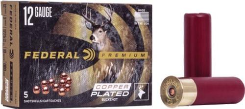 """Federal Copper Plated 12GA 3"""", 1100FPS 15pellets, 00 Buck 5RD Per Box"""