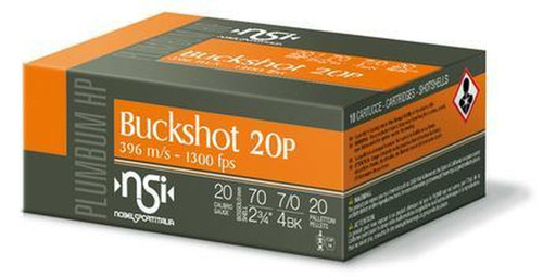 "Nobel Sport 20GA Buckshot 20Pellets, 2 3/4"", #4 Buck 10RD Per Box"