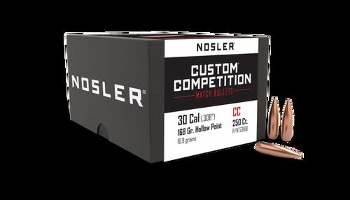 Nosler 30 Cal (.308) HPBT Custom Competition Match Bullets 168GR  250 CT Per Box250 Bullets Per Box