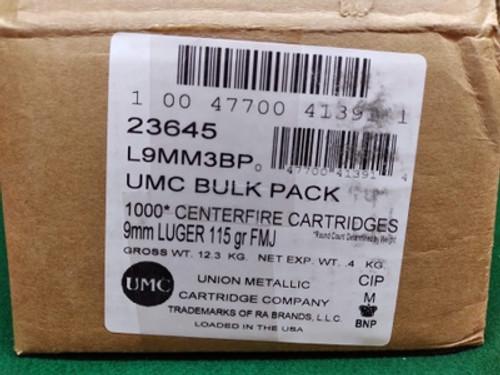 Remington UMC 23645 9MM Bulk Pack 115GR, FMJ, 1000RD Per Box