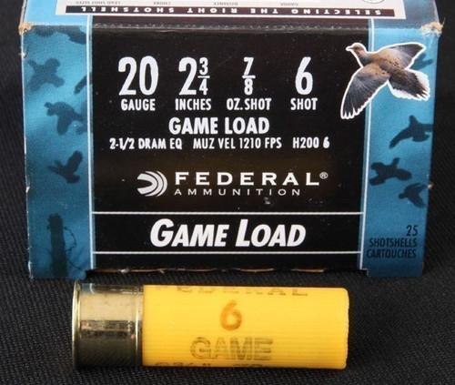Federal Game Load 20GA , 2 3/4, 7/8oz,1210FPS, 2 1/2Dram, #6 25RD Per Box