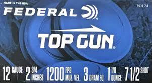 "Federal Top Gun 12GA, 2 3/4"", 1200FPS, 3 Dram, 1 1/8oz, #7.5 25RD Per Box"