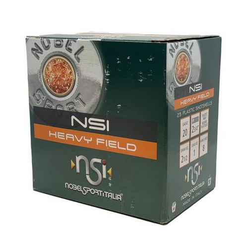 "Nobel Sport Heavy Field 20GA 2 3/4"", 2 1/2 Dram,2 1/2, 1oz, #8 25RD Per Box"