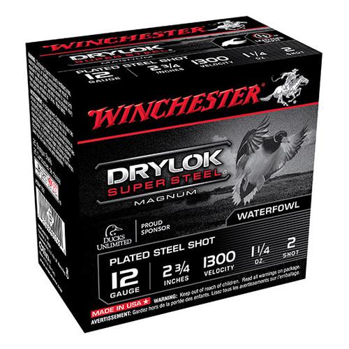 "Winchester DryLok Plated Steel Mag 12GA, 2 3/4"", 1300FPS, 1 1/4oz, #2 25RD Per Box"