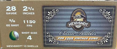 "HEVI-SHOT Classic Doubles 28GA, 2 3/4"", 5/8oz. 1150FPS, #4, 10RD"