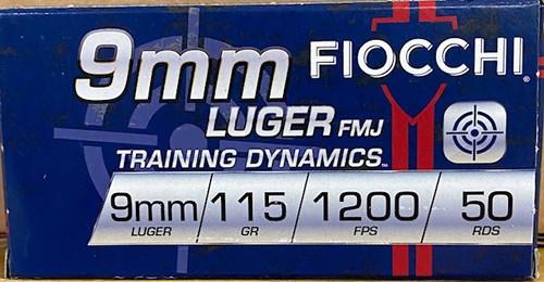 Fiocchi Range Dynamics 9mm Luger 115GR FMJ, 50RD