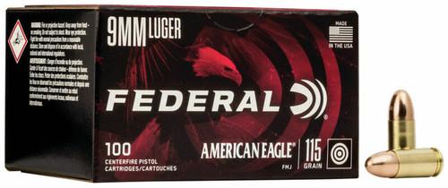 Federal American Eagle 9mm Luger 115GR FMJ, 100RD Per Box