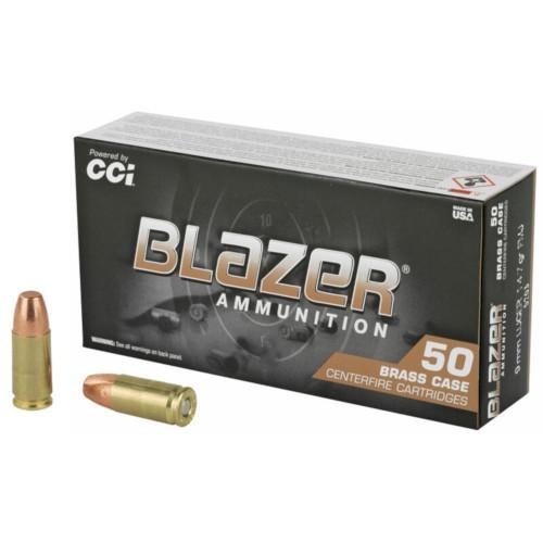 CCI Blazer Brass 9mm Luger 124GR FMJ, 50RD