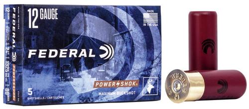 """Federal Powershok 12GA 2 3/4"""", 1325FPS, 9 Pellets 00 Buckshot, 5RD"""