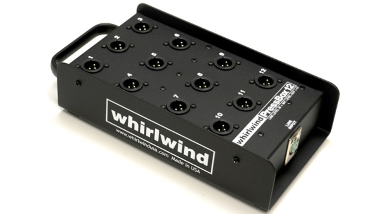 Whirlwind PB12 Press Box - These passive units distribute one line level input to multiple mic level outputs*. Each output is transformer isolated, provides excellent interchannel isolation and is ground lifted to help eliminate noise problems. Whirlwind TRSP-2F transformers are used throughout.