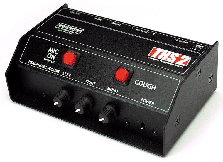 Whirlwind THS-2 - This is configured with a single microphone output, a latching Mic On/Off switch and a momentary Cough switch.