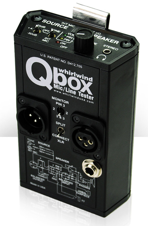 "Whirlwind Qbox - An all-in-one audio line tester ideal for applications such as live sound, maintenance, installation work - anywhere audio runs down a cable. The Qbox includes a microphone, a speaker, a test tone generator, outputs for standard headphones, a 1/4"" jack for line-in or a 2k Ohm (telephone) earpiece out. A handy clip attaches the Qbox to your belt or equipment rack."