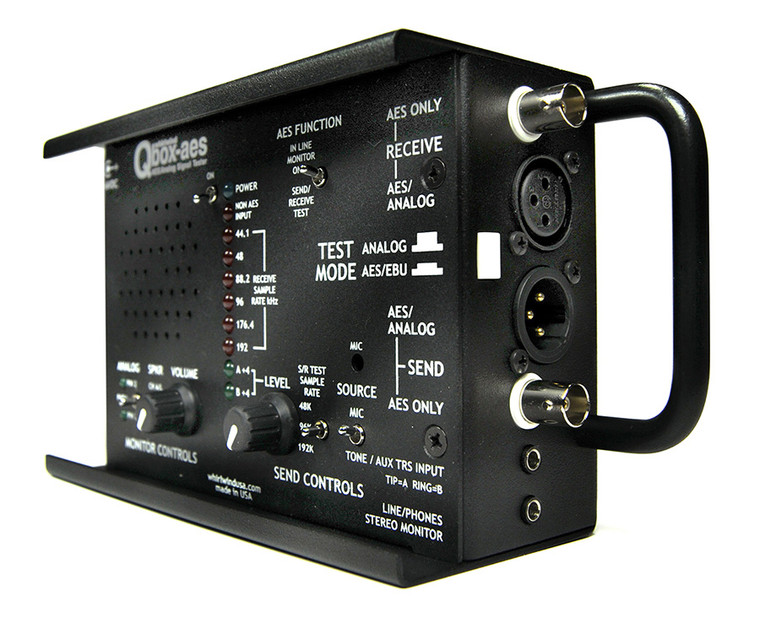The Whirlwind Qbox-aes is a multipurpose testing device for troubleshooting digitalAES-3, S/PDIF and analog audio signals