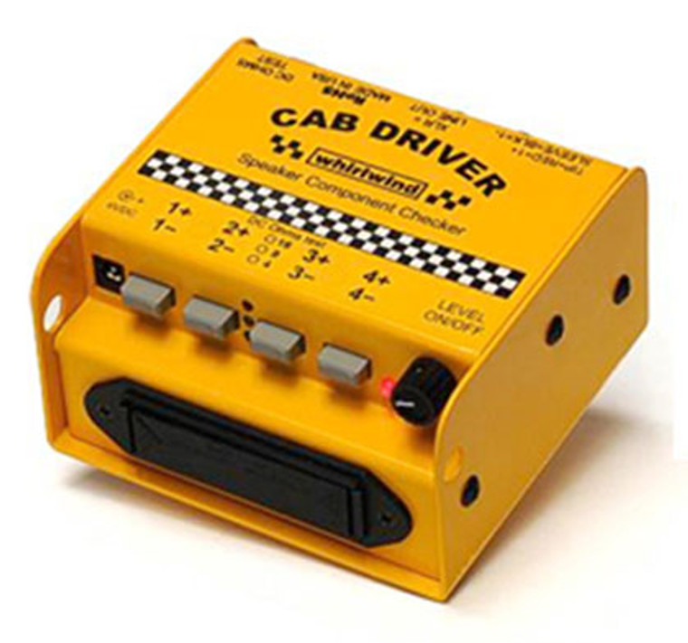 "The Whirlwind CAB DRIVER is a test device for checking the operation of the speaker components within enclosures. A pink noise signal source is sent through pushbutton selectors to an assortment of speaker connectors, including Speakon NL8 and NL4, 1/4"" TS and banana jacks."