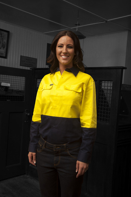 Hammer and Needle Cotton Drill Long Sleeve/Open Front Yellow/Navy Hi-Vis Work shirt