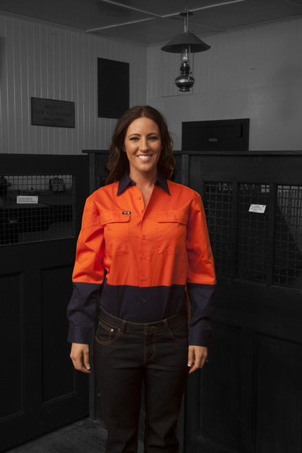 Hammer and Needle Cotton Drill Long Sleeve/Open Front Orange/Navy Hi-Vis Work shirt