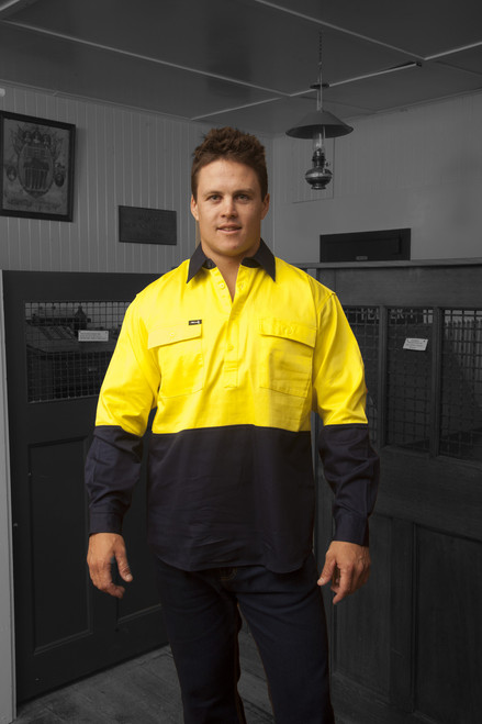 Hammer and Needle Cotton Drill Long Sleeve/Closed Front Yellow/Navy Hi-Vis Work shirt