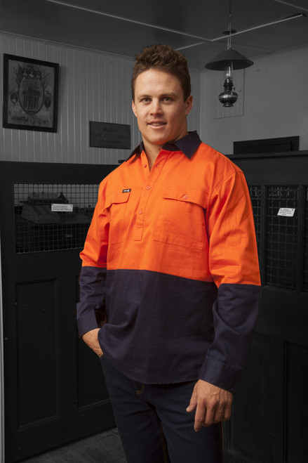 Hammer and Needle Cotton Drill Long Sleeve/Closed Front Orange/Navy Hi-Vis Work shirt
