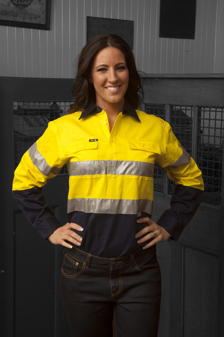 Hammer and Needle Cotton Drill Long Sleeve/Closed Front Yellow/Navy Hi-Vis + Reflective Tape Work shirt