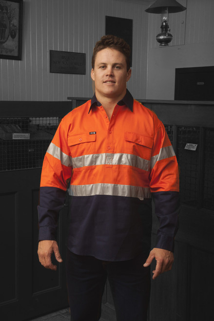 Hammer and Needle Cotton Drill Long Sleeve/Closed Front Orange/Navy Hi-Vis + Reflective Tape Work shirt
