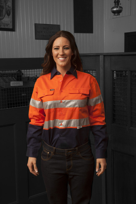 Hammer and Needle Cotton Drill Long Sleeve/Open Front Orange/Navy Hi-Vis + Reflective Tape Work shirt