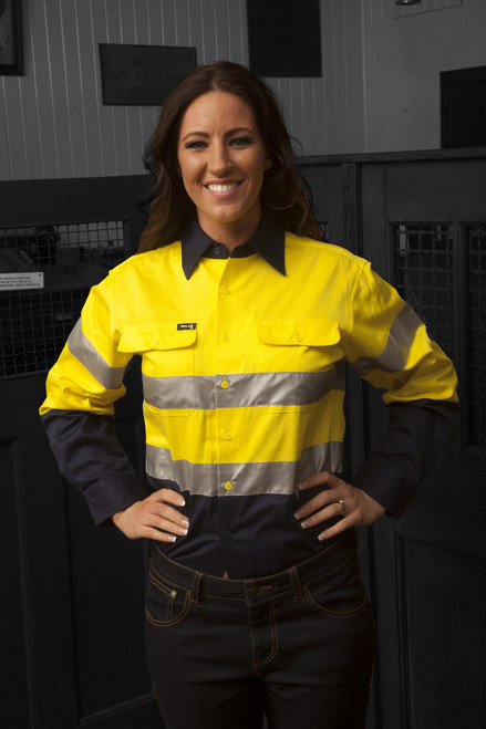 Hammer and Needle Cotton Drill Long Sleeve/Open Front Yellow/Navy Hi-Vis + Reflective Tape Work shirt