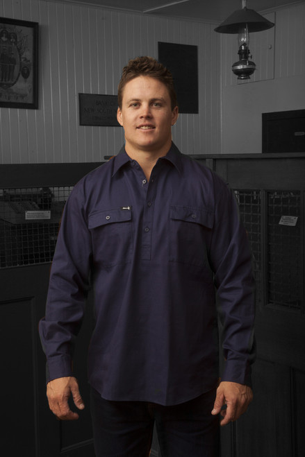 Hammer and Needle Cotton Drill Long Sleeve/Closed Front Navy Workshirt