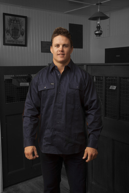 Hammer and Needle Cotton Drill Long Sleeve/Open Front Navy Workshirt