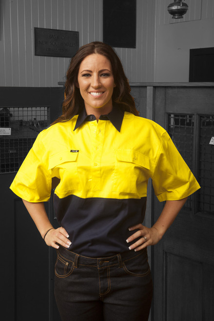 Hammer and Needle Cotton Drill Yellow/Navy Short Sleeve/Closed Front Work Shirt