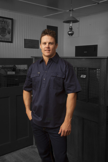 Hammer and Needle Cotton Drill Navy Short Sleeve/Closed Front Work Shirt