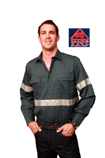Copperhead Men's Green Reflective Long Sleeve/Closed Front Shirt
