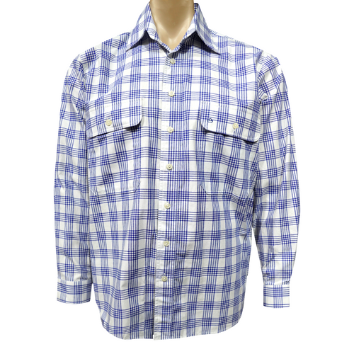 Sombrero Blue and White Checkered Dress Shirt Long Sleeve/Open Front