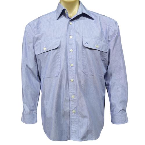 Sombrero Blue Stripe Dress Shirt Long Sleeve/Open Front