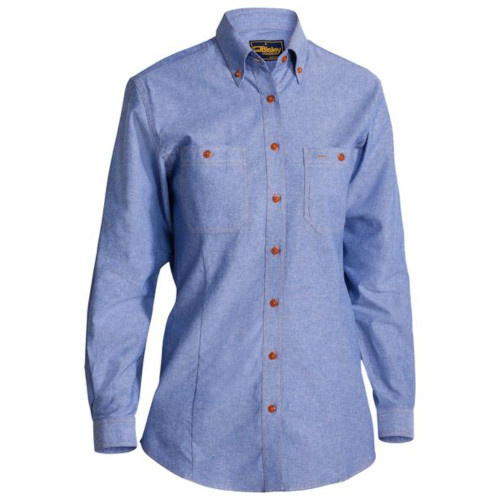 Bisley B76407L Ladies Long Sleeve Open Front Chambray Shirt