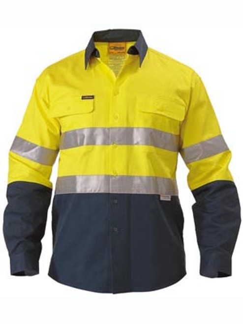 Bisley 2 Tone Yellow/Navy Long Sleeve Open Front Drill Shirt with Reflective Tape